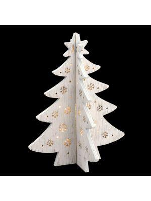 Albero a croce in legno Vintage bianco a batteria 12 led luce fissa bianco classic vetrina