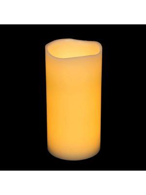 candela in cera avorio ø 10 x h 20 cm a batteria - effetto fiamma - led bianco classic