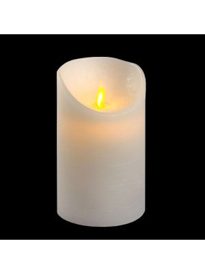 Candela in cera bianca rustic h 12,5 cm a batteria timer on-off - moving flame - led bianco caldo