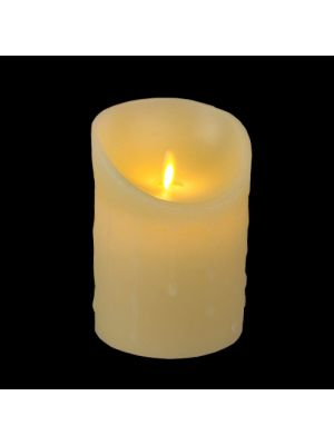 Candela avorio in cera con gocce ø 9 x h 12,5 cm a batteria timer on-off - moving flame - led bianco caldo