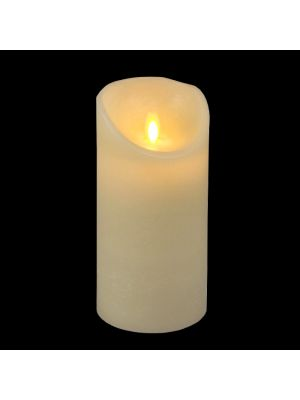 Candela avorio in cera rustic ø 9 x h 18 cm a batteria timer on-off - moving flame - led bianco caldo