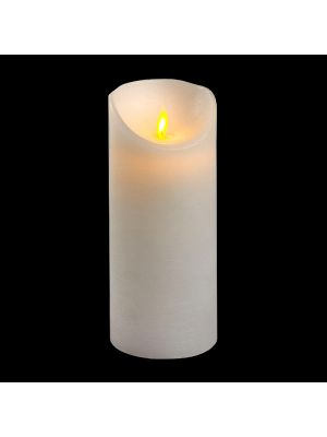 Candela in cera bianca rustic h 18 cm a batteria timer on-off - moving flame - led bianco caldo
