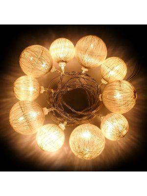 Catena luminosa 10 led a batteria cotton ball bianche 2,25 m luce fissa bianco classic da interno