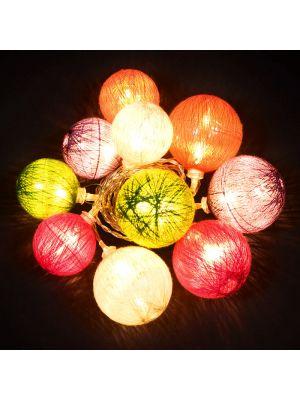 Catena 10 led a batteria cotton ball multicolor 2,25 m luce fissa bianco classic caldo