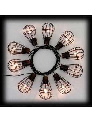 Catena luminosa 10 lanterne metallo invecchiato - a batteria solare - luce fissa - bianco classic
