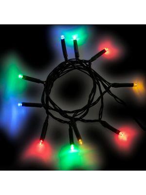 Catena Di Luci A Batteria 10 Led Reflex   Luce Fissa   Multicolor Cavo Verde