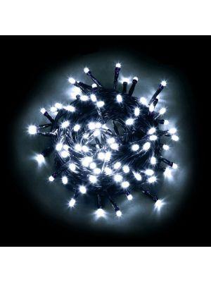 Catena luminosa 100 minilucciole led con controller bianco ghiaccio freddo