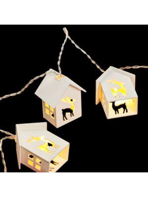 catena luminose led a batteria 6 casette in legno decorazione renna bianco classic caldo