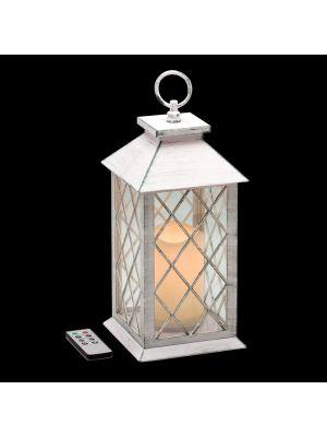 Lanterna bianco antico con Candela LED CLASSIC effetto Fiamma -  Telecomando Timer - a batteria