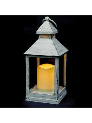 Lanterna bianco antico a batteria h 24 cm - effetto fiamma - led bianco classic