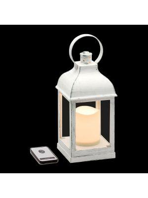 Lanterna bianco antico batteria telecomando on/off - effetto fiamma - bianco caldo