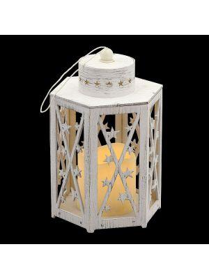 Lanterna in legno vintage bianco a batteria h 22 cm - candela led effetto fiamma - bianco classic