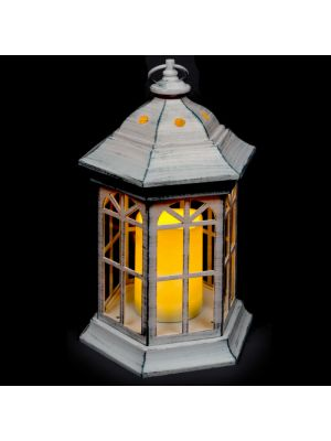 Lanterna bianco antico a batteria h 37,5 cm - candela led effetto fiamma - bianco classic