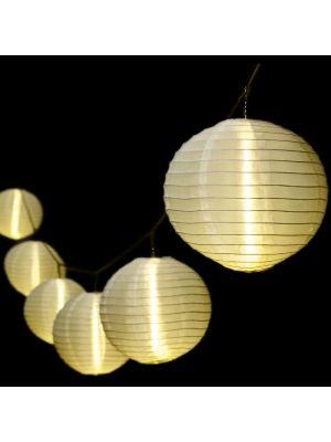 Catena 8 m - 10 lanterne luminose bianche - prolungabile - led bianco caldo