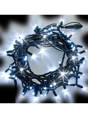 Catena di Natale 10 m - 120 Maxiled Flashled Diamond - prolungabile - bianco ghiaccio