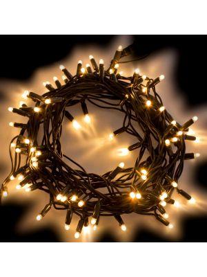 Catena di Natale 10 m - 120 Maxiled luce fissa - prolungabile - bianco classic