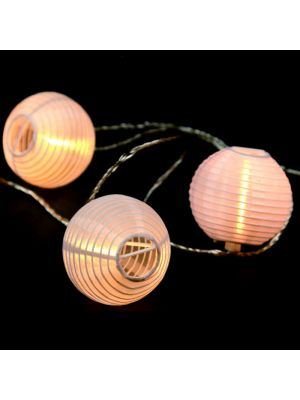 Catena 5,6 m - 16 lanterne luminose - prolungabile - led bianco classic caldo