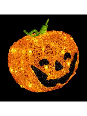 Zucca Halloween 3D 48 Led Ø 22 cm - batteria timer - on-off Flashing - bianco classic