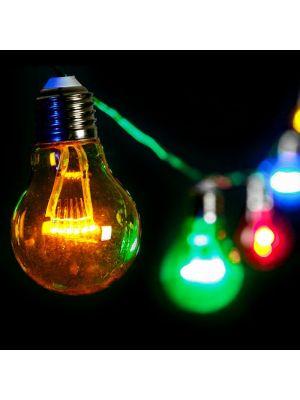 Catena 5 m - 10 lampadine a goccia 60 miniled prolungabile - luce fissa - multicolor