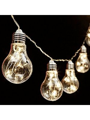 Catena 5 m - 10 lampadine a goccia 60 microled - prolungabile - luce fissa- bianco caldo
