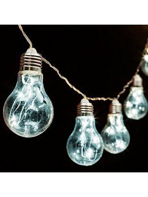 Catena 5 m - 10 lampadine a goccia 60 microled - prolungabile - luce fissa- bianco ghiaccio