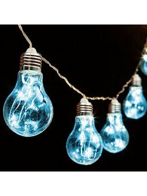 Catena 5 m - 10 lampadine a goccia 60 microled - prolungabile - luce fissa - blu