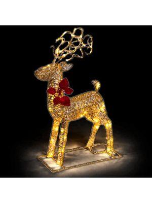 Decorazione renna luminosa Golden Glitter 48 led reflex - luce fisssa - bianco classic