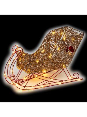 Decorazione Slitta luminosa Golden Glitter 48 led reflex - luce fissa - bianco classic