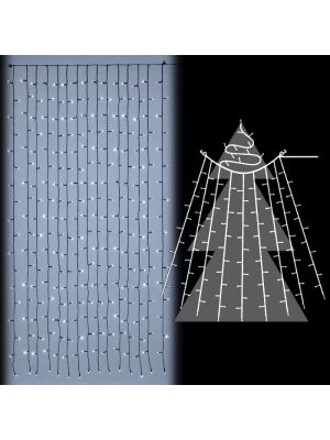 Tenda luminosa per albero di natale 270 led flashled diamond bianco ghiaccio illuminata