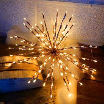 Ramo luminoso twig ball ø 45 cm - effetto rame - 160 led reflex - bianco tradizionale