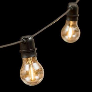 Catena 5 m - 10 lampadine e27 ø6 cm - prolungabile - filament led - bianco caldo