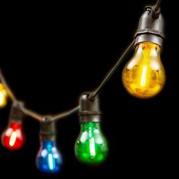 Catena 5 m - 10 lampadine e27 ø6 cm - prolungabile - filament led - multicolor