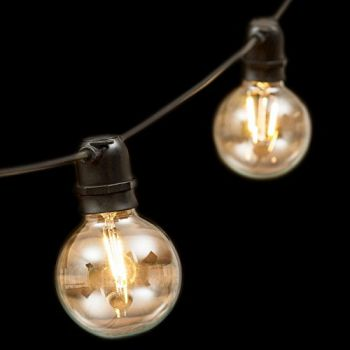 Catena 8 m - 10 lampadine e27 ø8 cm - prolungabile - filament led - bianco caldo