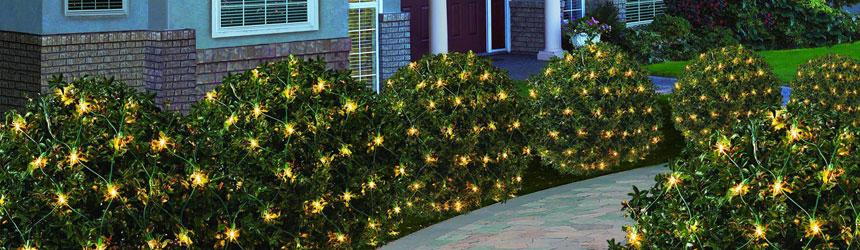 Reti di luci di Natale per esterni